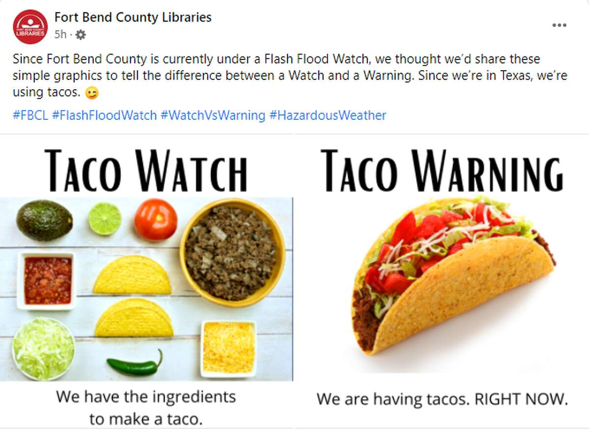 Taco watch vs. taco warning, from Fort Bend County Libraries