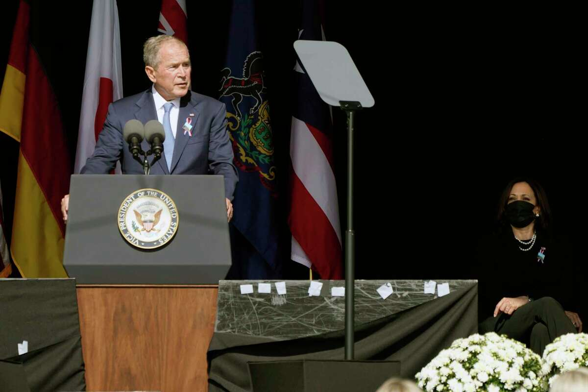Former President George W. Bush speaks Saturday during a memorial for the passengers and crew of United Flight 93. His critique of the Trump movement is not wrong, but it is fatally undermined by his own conduct in office.