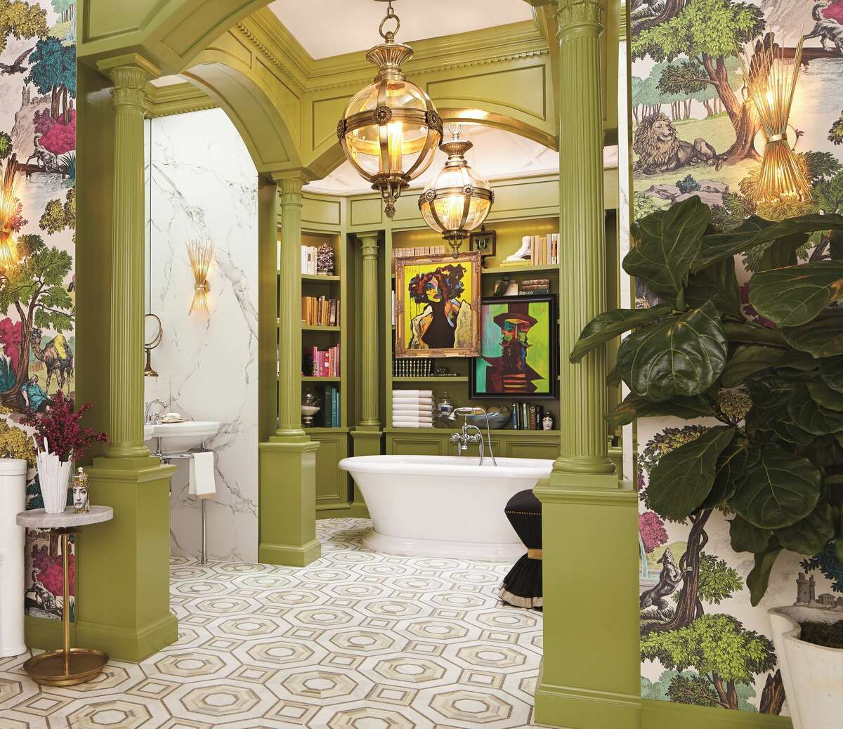 """Photo of a bathroom featured in interior designer Corey Damen Jenkins new book, """"Design Remix."""" Jenkins will be the keynote speaker at Fall Design Week on Oct. 5."""