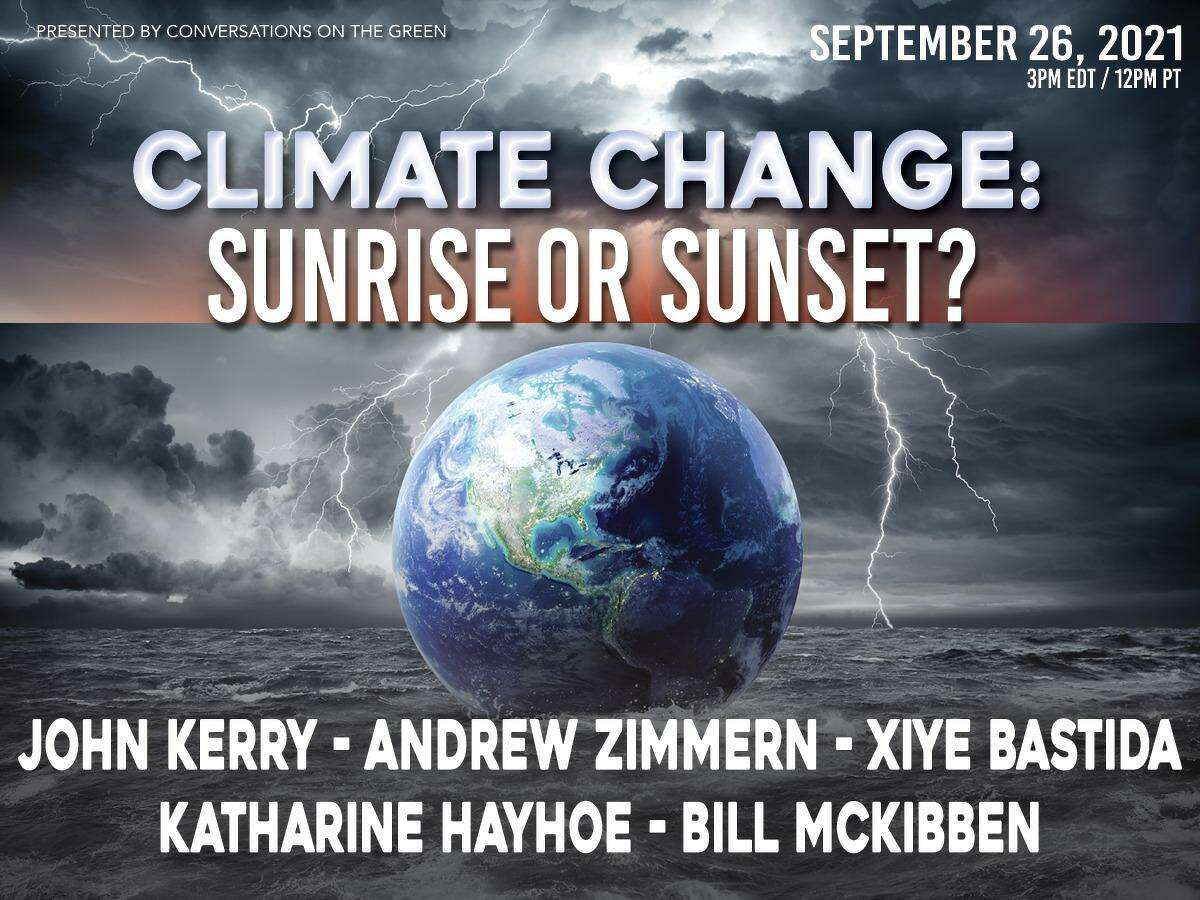 Conversations on the Green presents Climate Change: Sunrise or Sunset? Sept. 26 at 3 p.m.