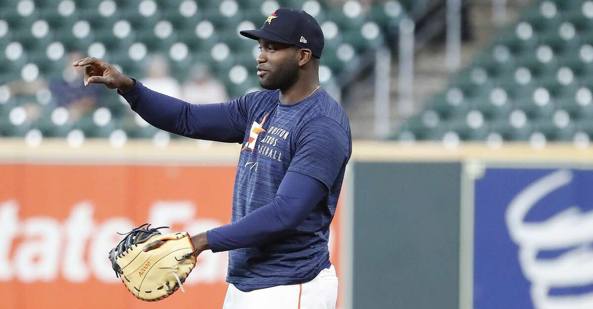 Houston Astros Yordan Alvarez takes infield ground balls at first base during batting practice before a MLB baseball game at Minute Maid Park, Saturday, September 11, 2021, in Houston.