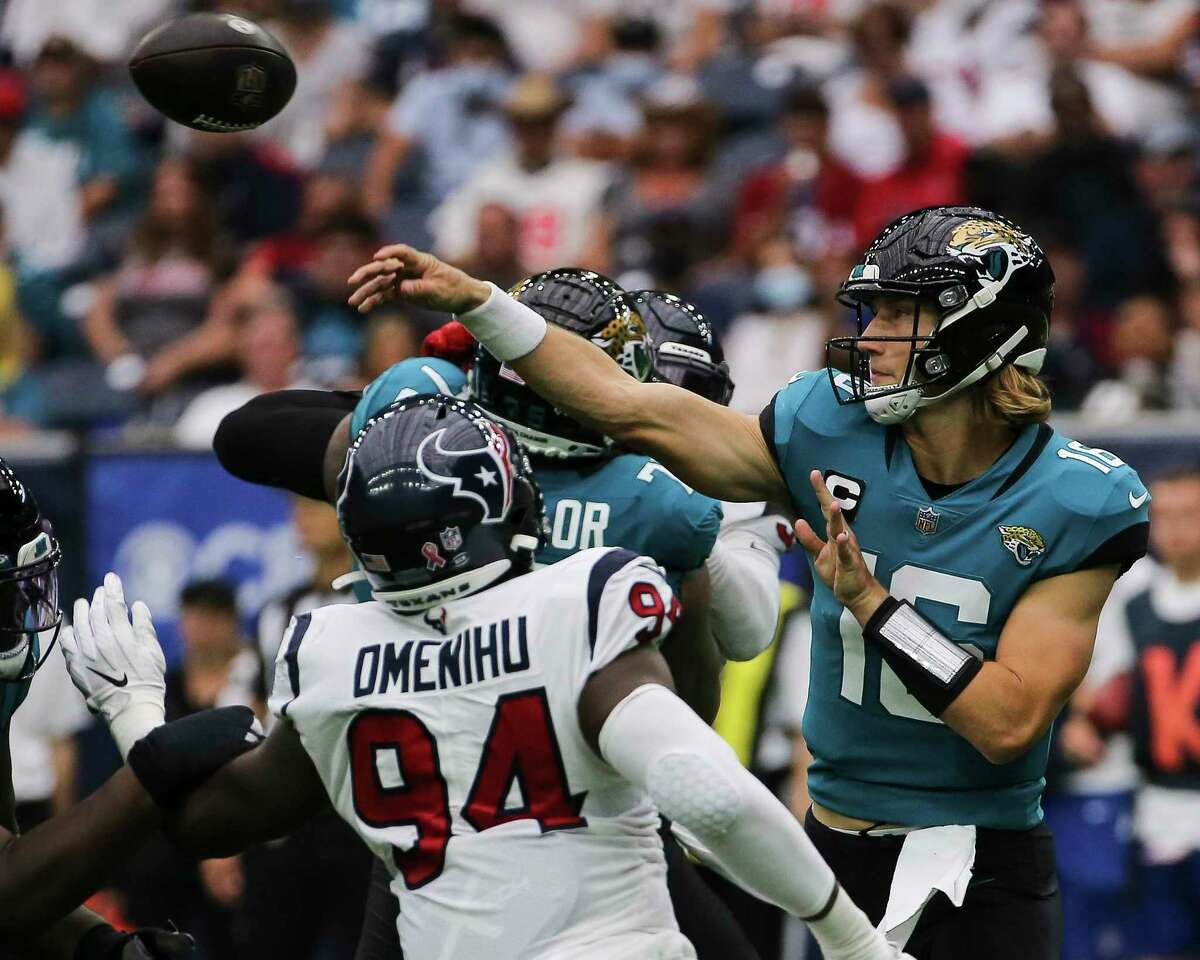 Jacksonville's Trevor Lawrence was intercepted three times but Texans didn't record a sack when rushing four linemen. He was sacked once on a blitz.