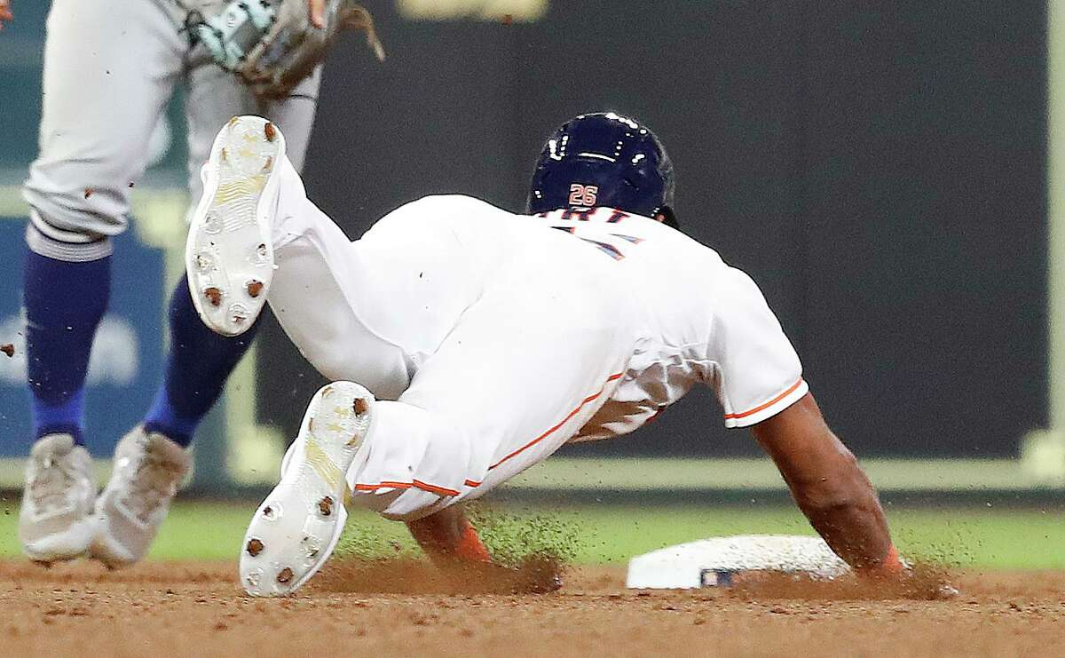 Jose Siri collected his first major league stolen base during the Astros' 5-4 home win over the Mariners on Sept. 7.
