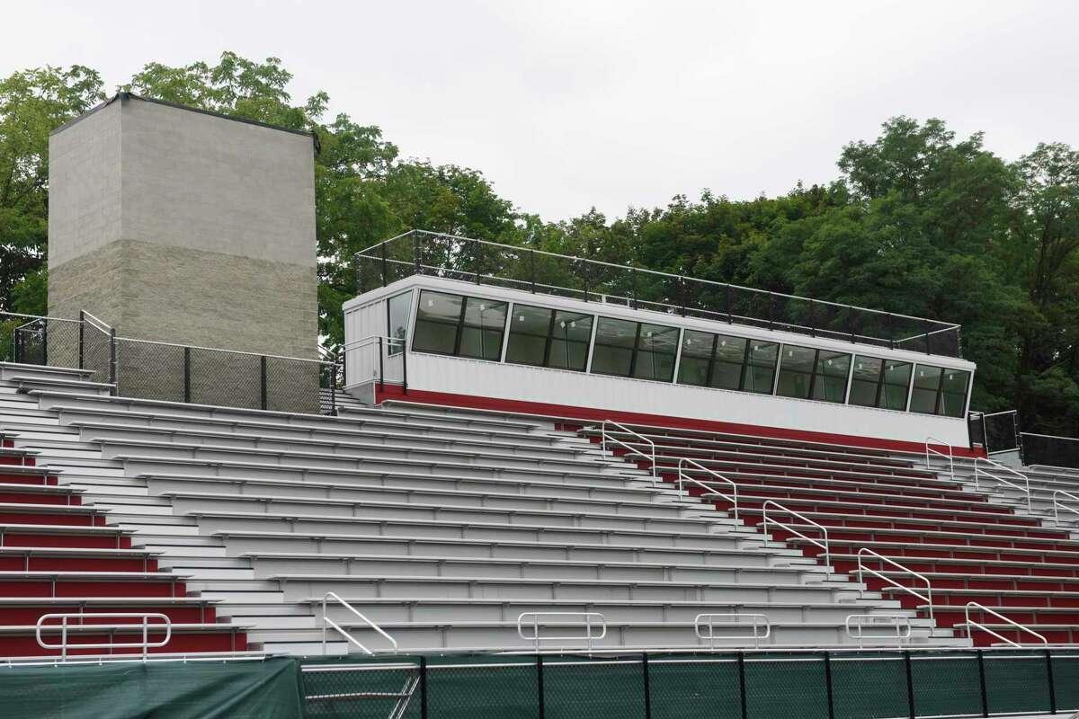 Construction continues on the Cardinal Stadium bleachers at Greenwich High School.