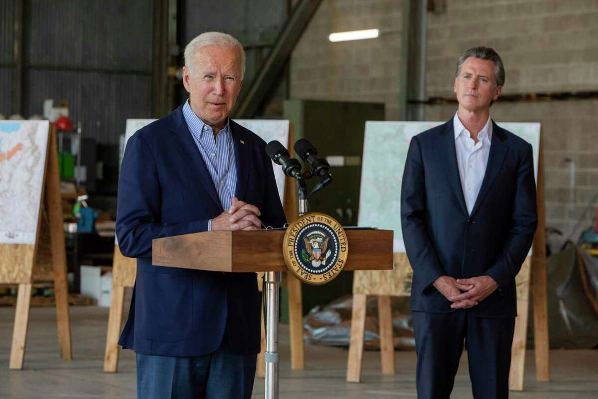 President Biden speaks at Mather Field in Sacramento on Monday. The President visited California to survey wildfire damage in response to recent fires.