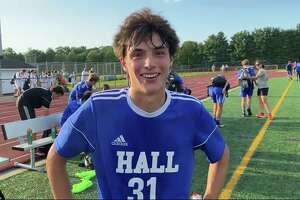 Senior Tobias Ruffo helped lead the top-ranked Hall boys soccer team to its win over No. 2 Farmington Monday.