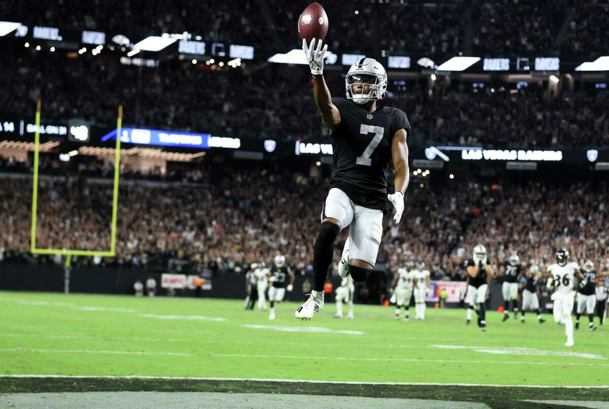 Raiders wide receiver Zay Jones celebrates the game-winning touchdown at Allegiant Stadium. Las Vegas rallied to tie the game on three separate occasions in the fourth quarter.