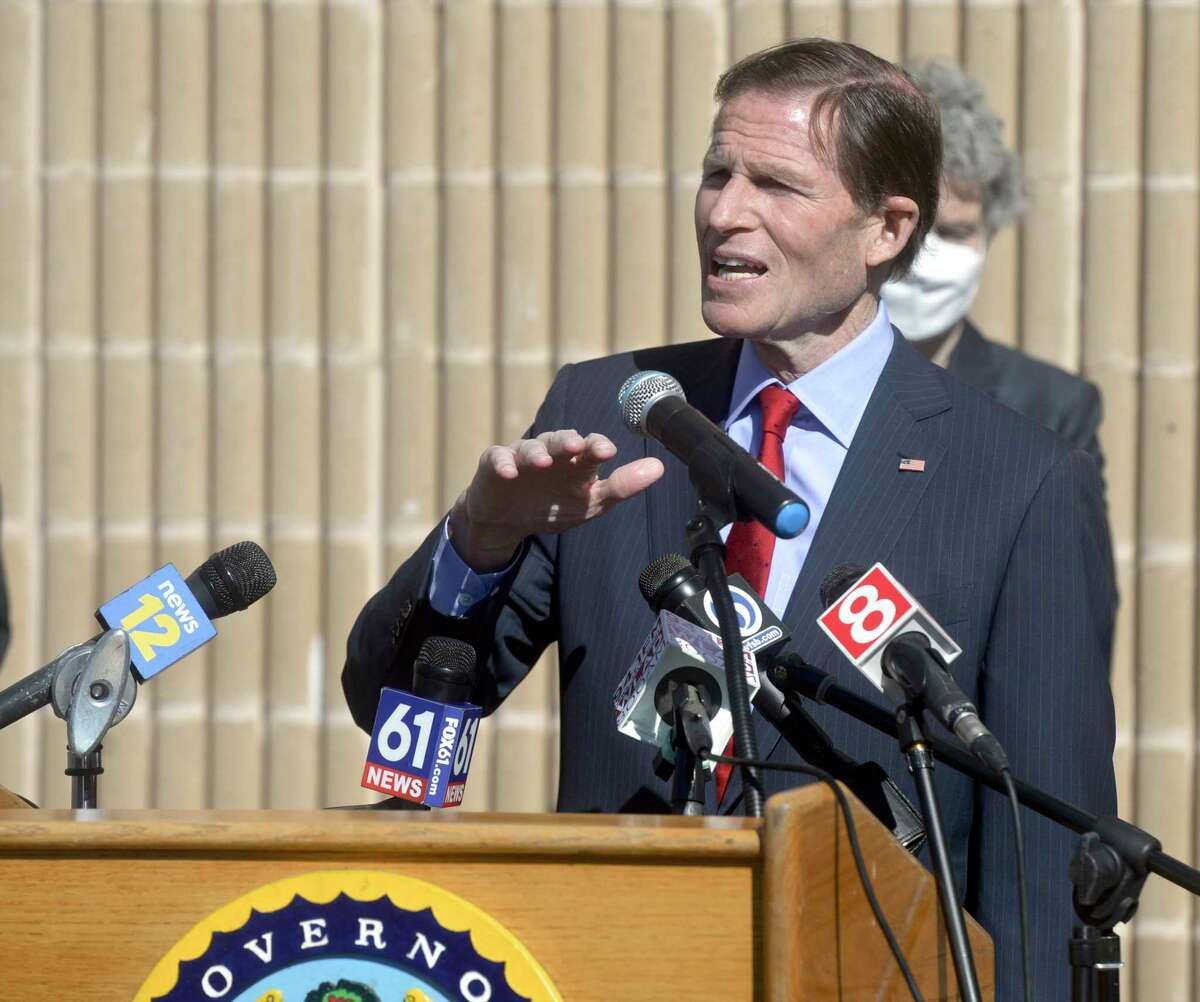 U.S. Sen. Richard Blumenthal, D-Conn. speaks after visiting a COVID-19 vaccination clinic at Rodgers Park School March 2021 in Danbury.