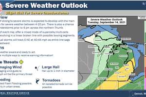 Severe weather is possible Tuesday, Sept. 14, 2021 across Michigan, although some areas face an increased risk than others.