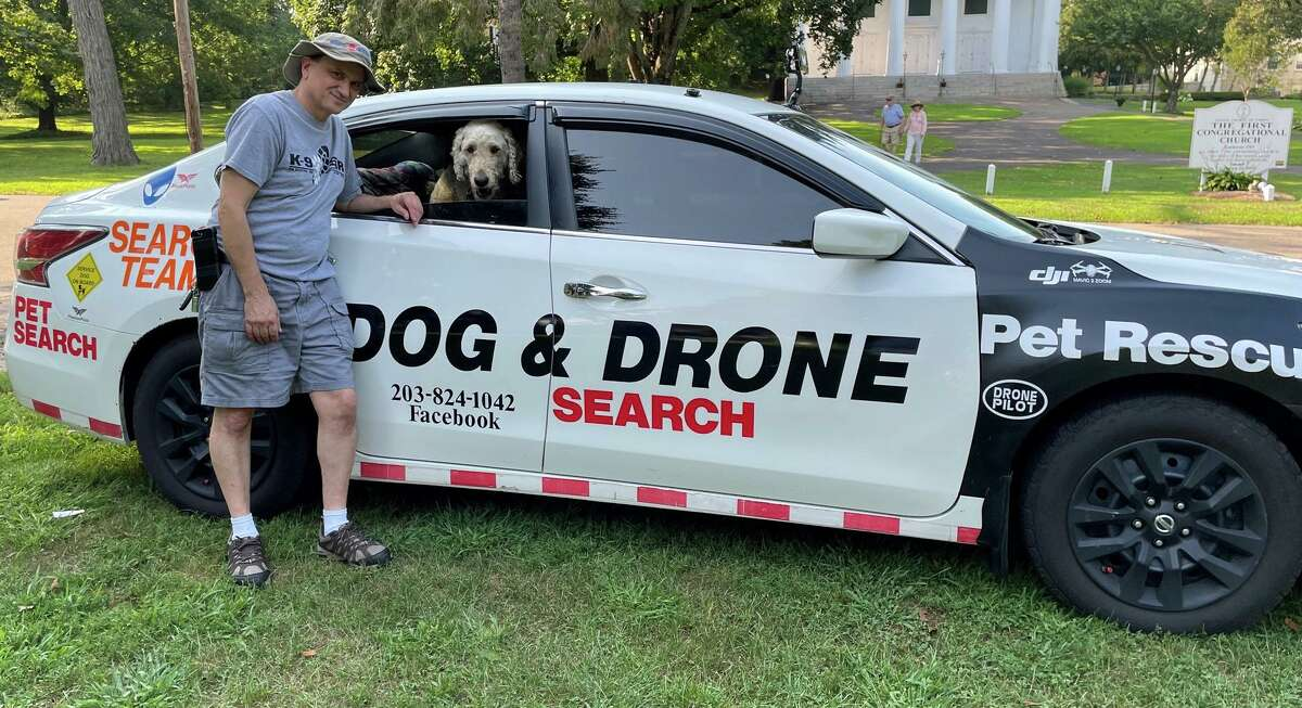 Dan Montuori with Stella are the team for Dog & Drone Search Pet Rescue, which has helped find over 100 pets, according to Montouri
