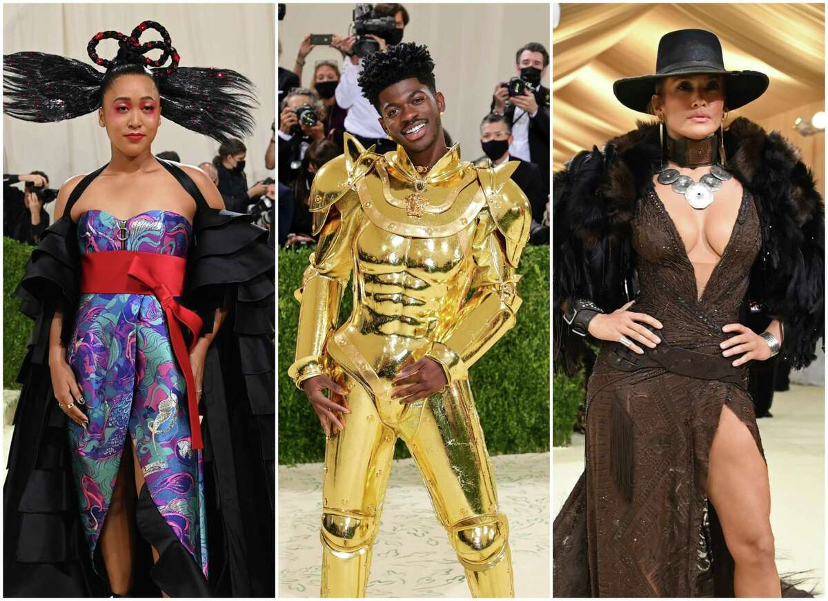 Naomi Osaka, Lil Nas X and Jennifer Lopez were among the many other celebrities who put their spin on the Met gala's theme - American independence - on Monday. The gala, which is usually held the first Monday in May, was rescheduled due to the pandemic.
