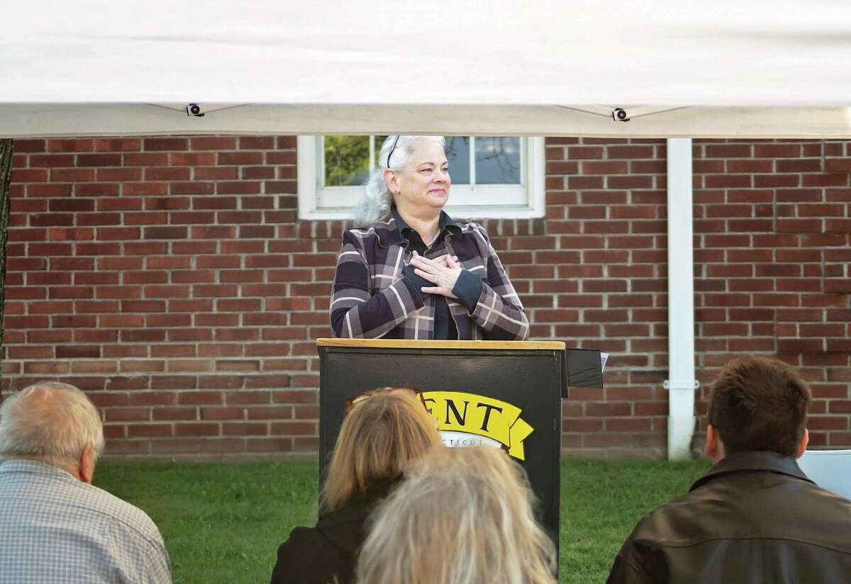 Kent First Selectman Jean Speck at the town's 9-11 ceremony