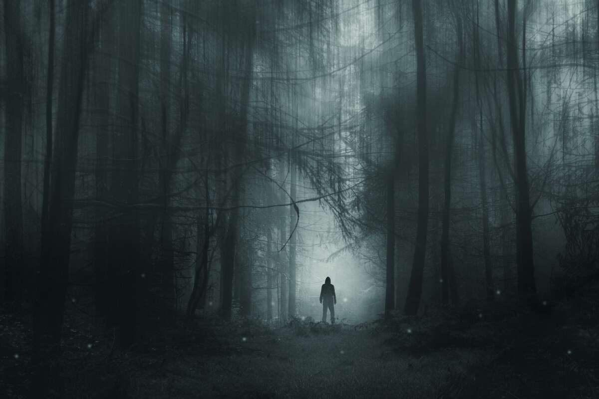 Pictured is a spooky hooded figure, standing in a winter forest.