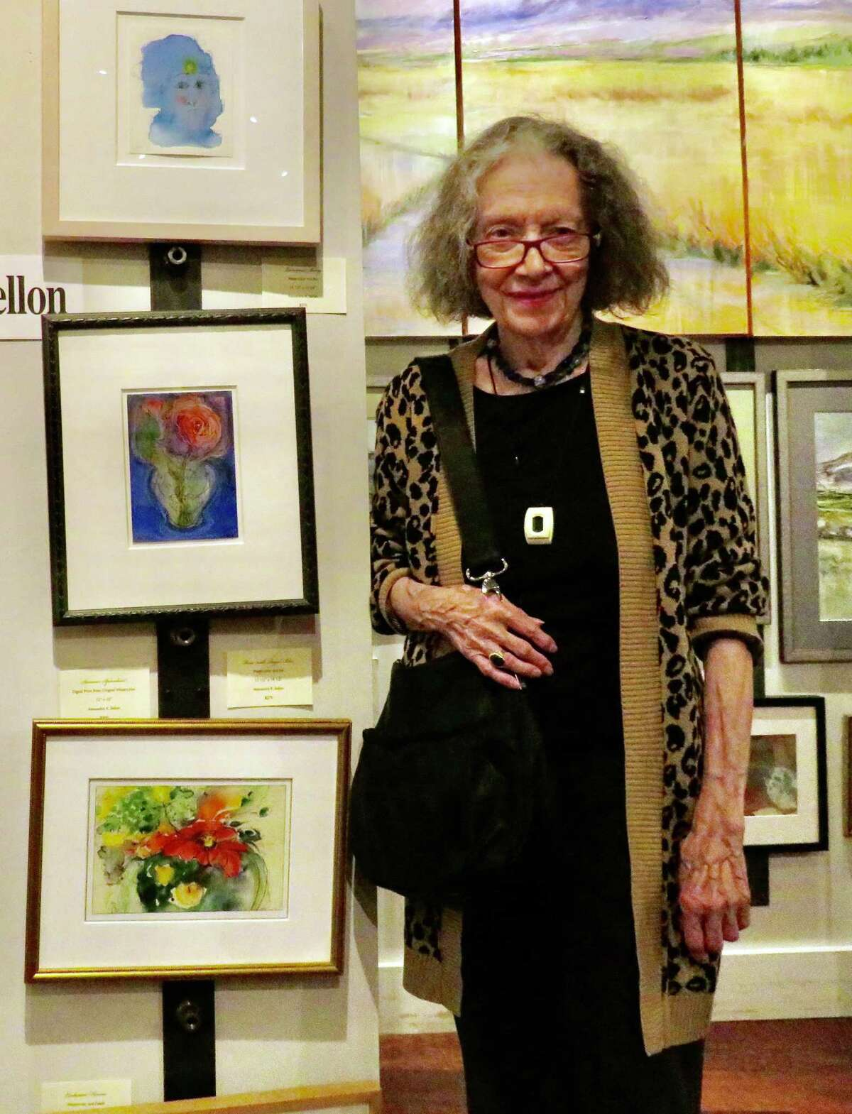 Watercolorist Alexandra K. Sellon at opening for BACA fall gallery exhibit on Branford's Main Street.