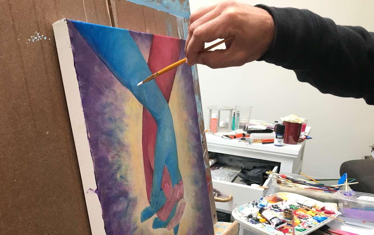 Closeup of John Zoccoli's work-in-progress