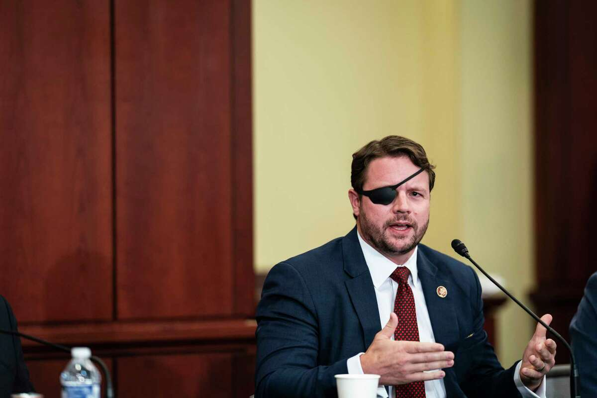 Rep. Dan Crenshaw, R-Texas, speaks during a Republican veterans roundtable on Afghanistan on Capitol Hill on Aug 30, 2021.