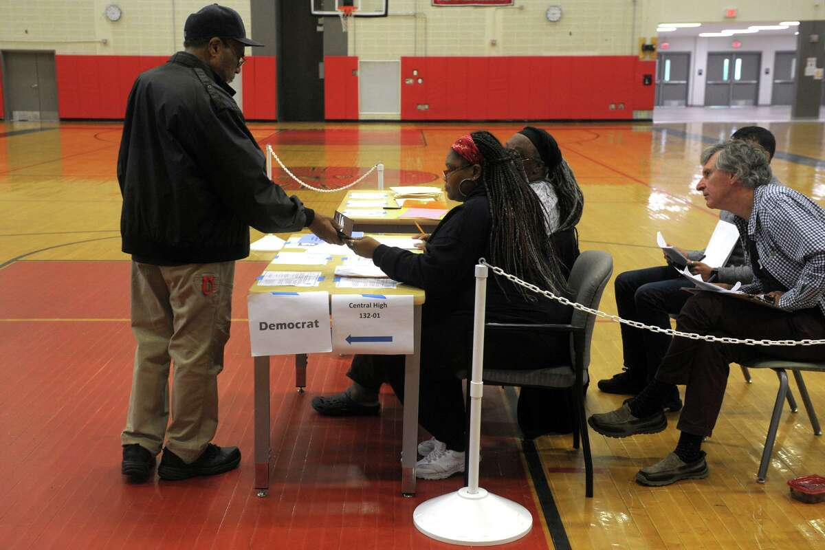 Polls are open for Tuesday's primary elections at Central High School, in Bridgeport, Conn. Sept. 10, 2019.