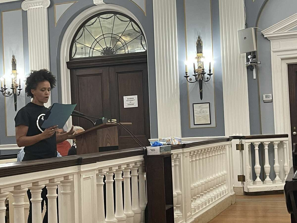 City school board member and racial justice advocate Jamaica Miles addresses City Council on Monday, Sept. 13, 2021.
