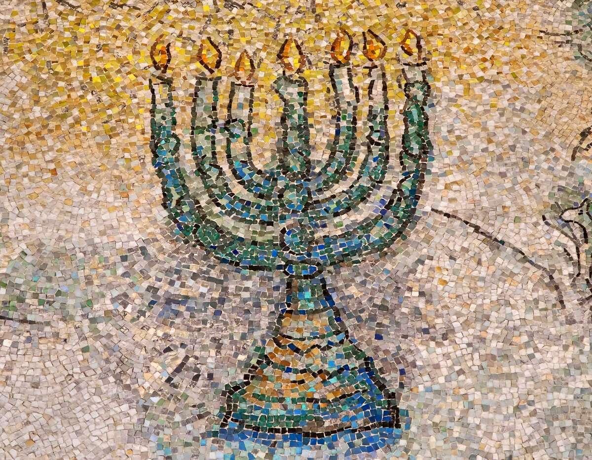 A mosaic menorah.