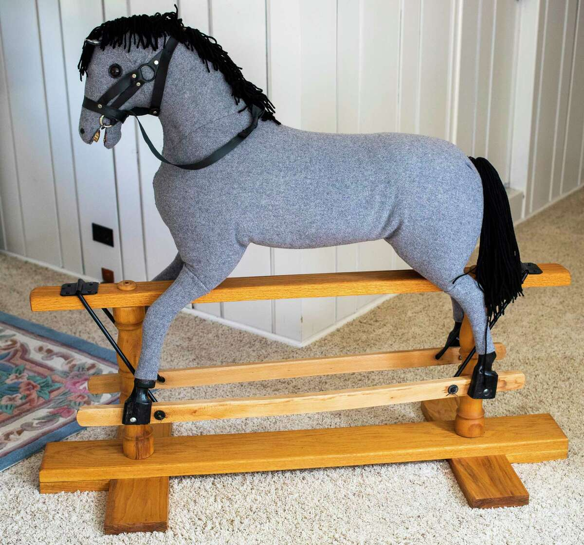 A rocking horse once ridden by the Dow children is now a keepsake of Janet and Irving Snyder, who own the former home of Willard Dow and his family, located at 923 W. Park Drive in Midland. (Katy Kildee/kkildee@mdn.net)