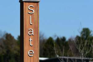 The entrance to Slate School on Mansfield Road in North Haven.