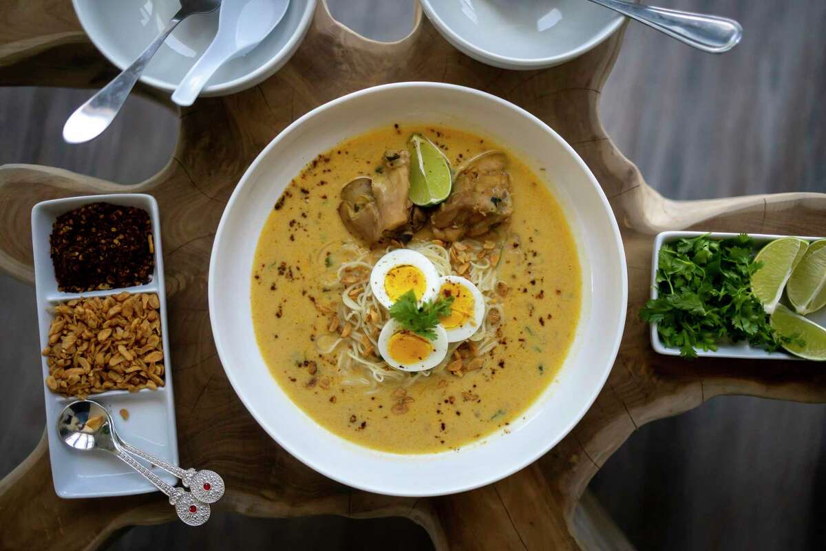 A traditional Burmese dish of chicken and coconut milk in the apartment of Masterchef finalist Suu Khin on Friday, Sept. 10, 2021.