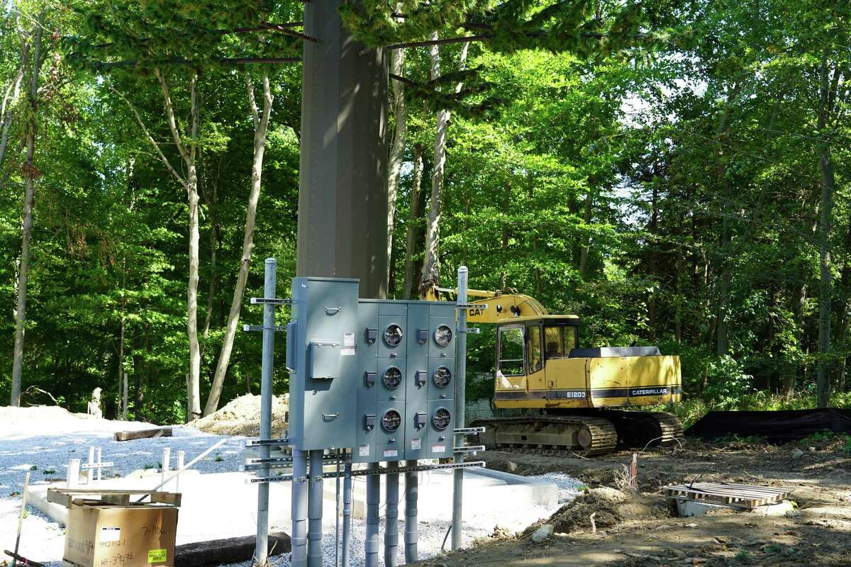 The 85-foot pine monopole cell tower on has been erected on Keith Richey's private property at 183 Soundview Lane. The picture was take Sept. 13, 2021.