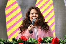 NORCROSS, GEORGIA - DECEMBER 19: Actress America Ferrera speaks onstage during Joy To The Polls at Lucky Shoals Park on December 19, 2020 in Norcross, Georgia. (Photo by Paras Griffin/Getty Images)