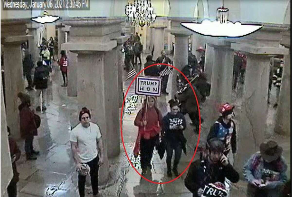 Surveillance footage attached to a statement of facts in connection with the arrest of Jean Lavin, 56, and her daughter, 19-year-old Carla Krzywicki, in connection with the Jan. 6 riot at the U.S. Capitol.