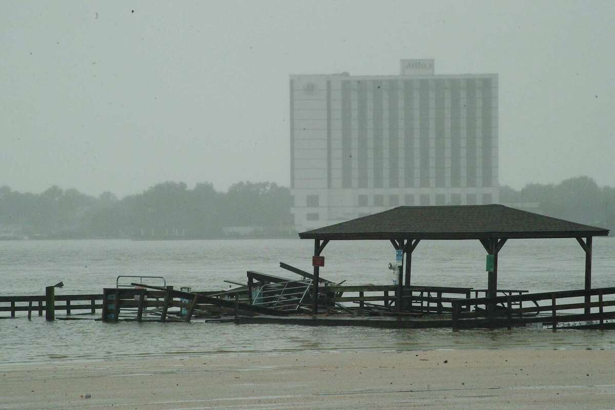 High winds and water from the storm damaged a fishing pier at Clear Lake Park.
