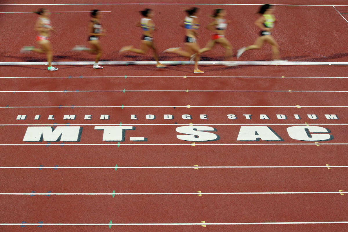 A general view of the track during the Women's 5000 Meter Run B race during the USATF Golden Games and World Athletics Continental Tour event at Mt. San Antonio College on May 9, 2021, in Walnut, Calif.