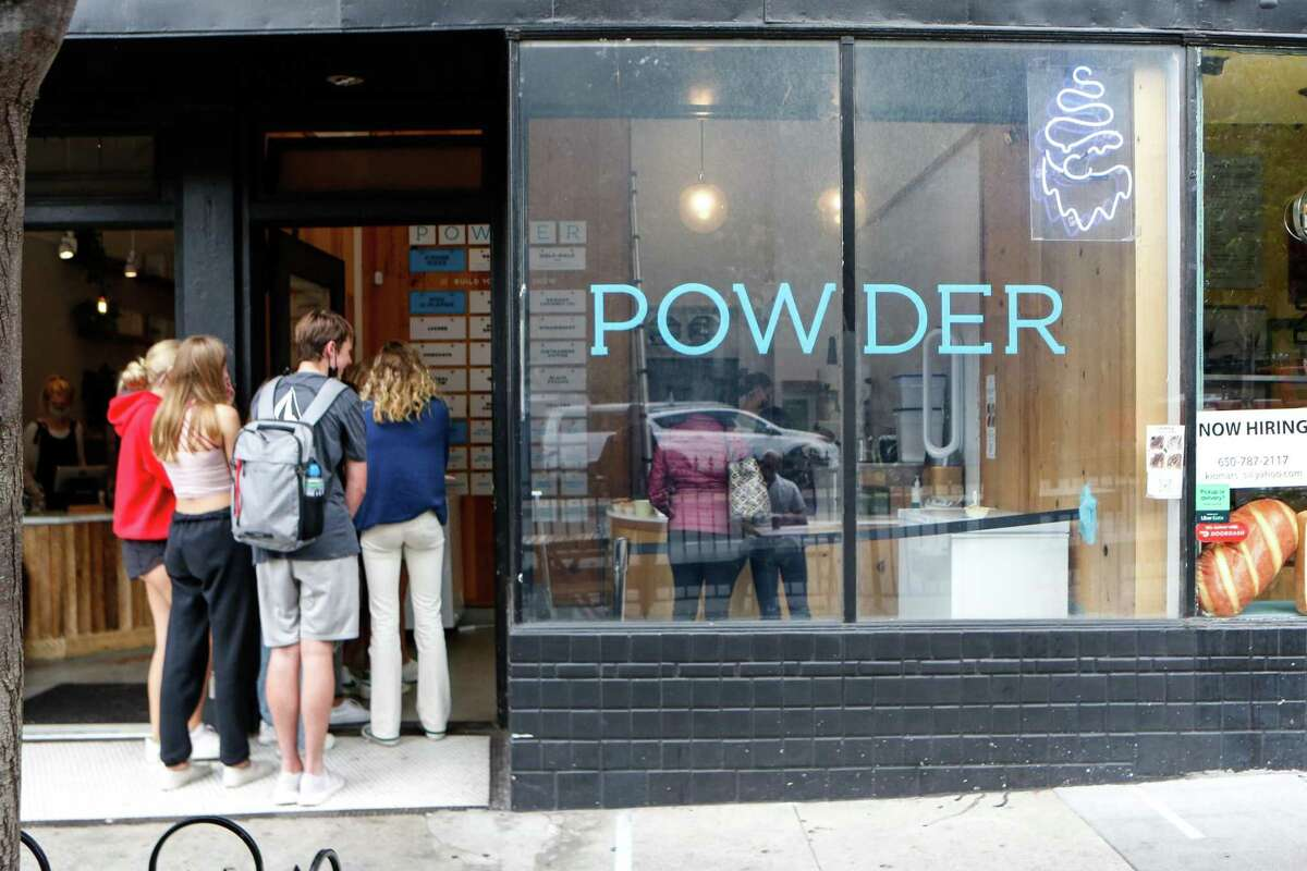A line of customers at S.F.'s Powder, which sells Taiwanese shaved ice in a variety of flavors.