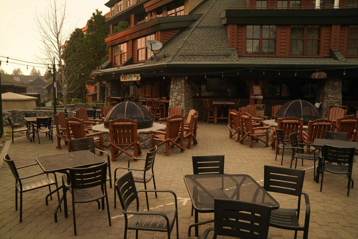 An empty restaurant is seen after a mandatory evacuation was ordered because of the Caldor Fire in South Lake Tahoe, Calif., Tuesday, Aug. 31, 2021.