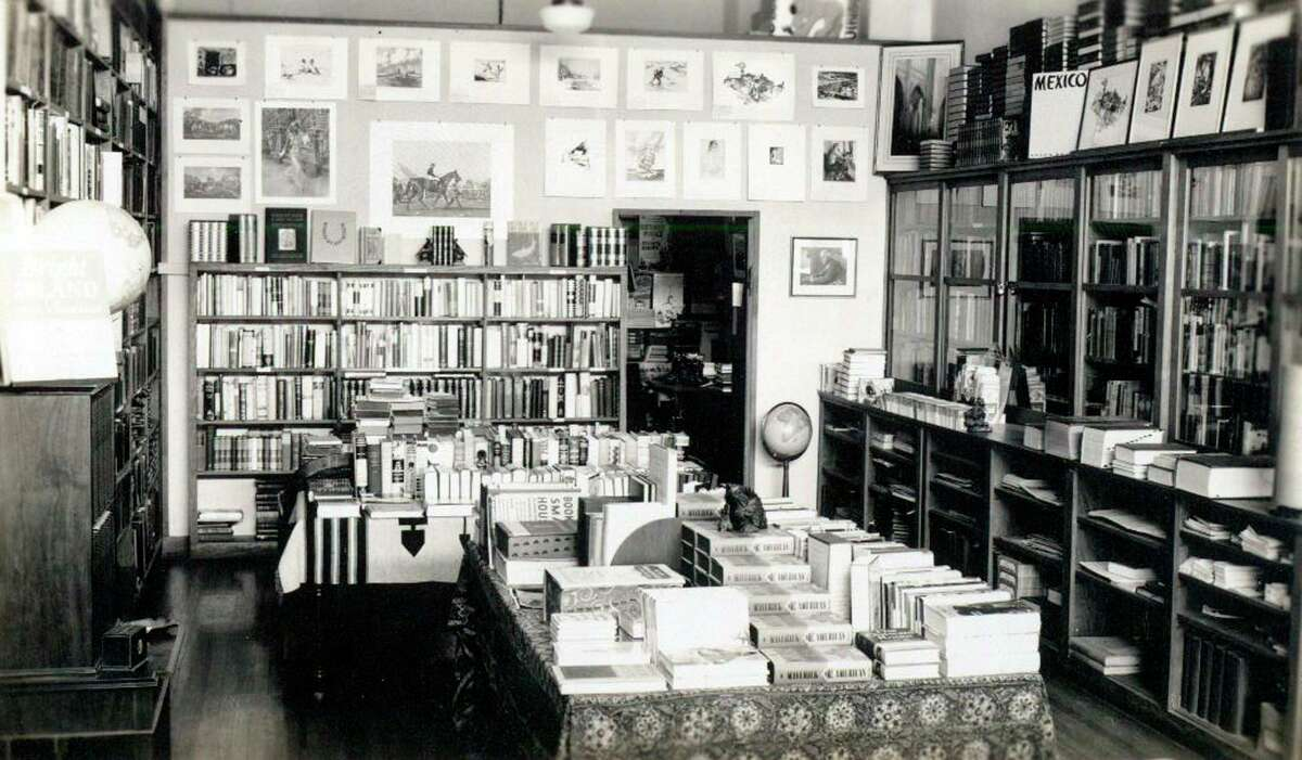 Rosengren's Books as the bookstore appeared in 1937 at the street-level location in the Milam Building.