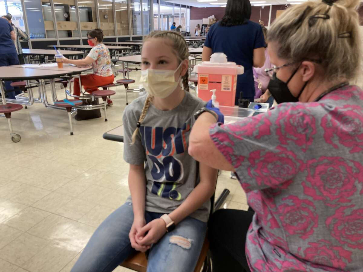 LHS sophomore Lauren Clifton received a vaccine during a vaccine clinic at Legacy High School.