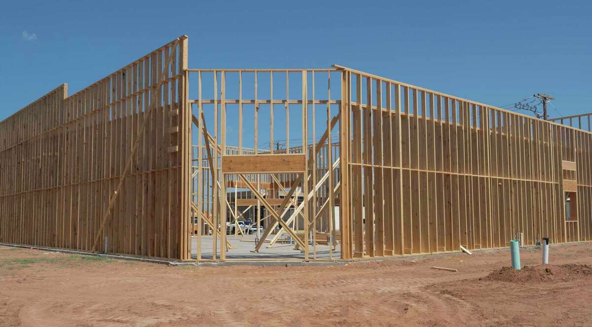 Outside framing is nearly complete 09/14/2021 for the expanded Midland Meat Company storefront at the corner of Pecan Ave and Loma Dr., right behind the original Midland Meat Company store on Big Spring St.. Tim Fischer/Reporter-Telegram