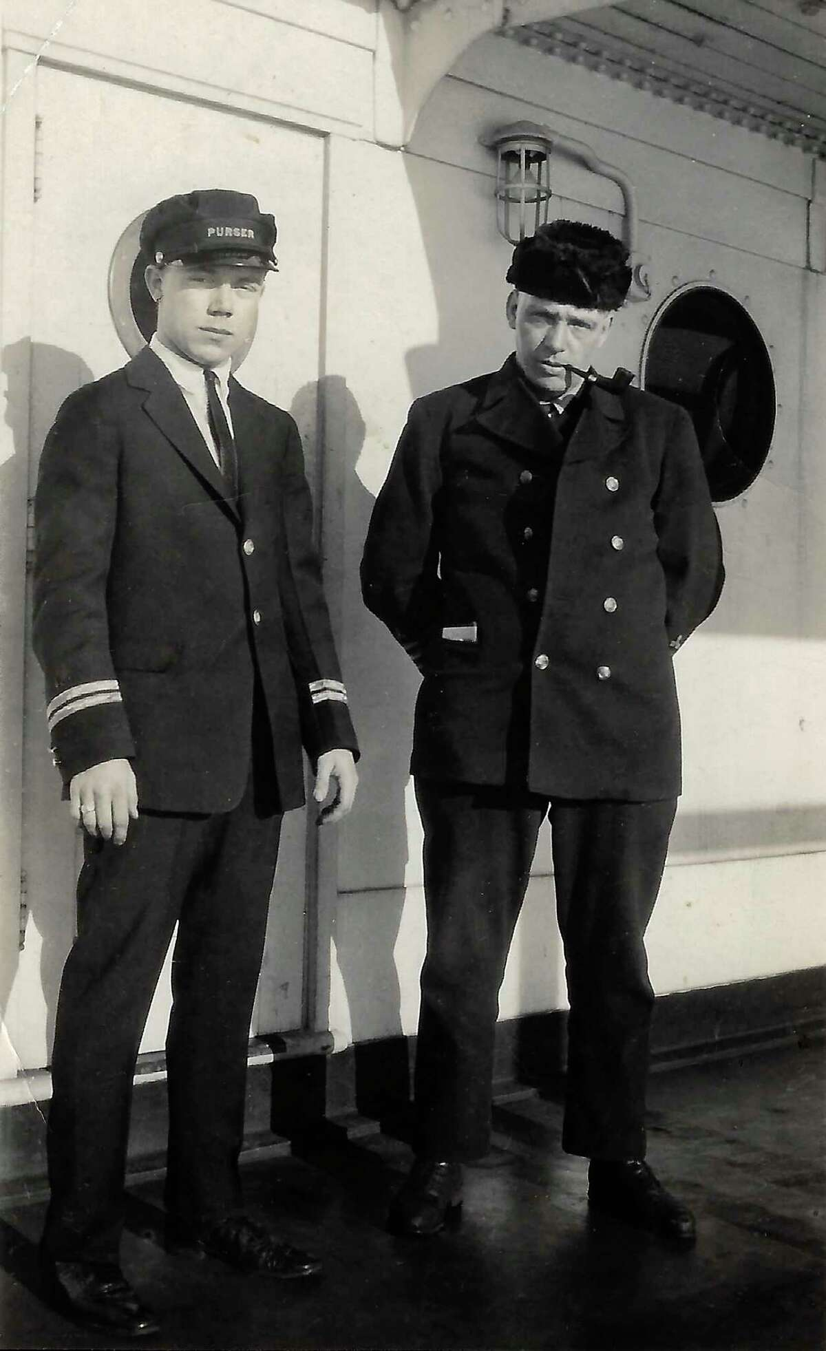 Chief Engineer Stanley Hawkins and Purser Elliott Jacobsen on the Ann Arbor #7. (Courtesy Photo)