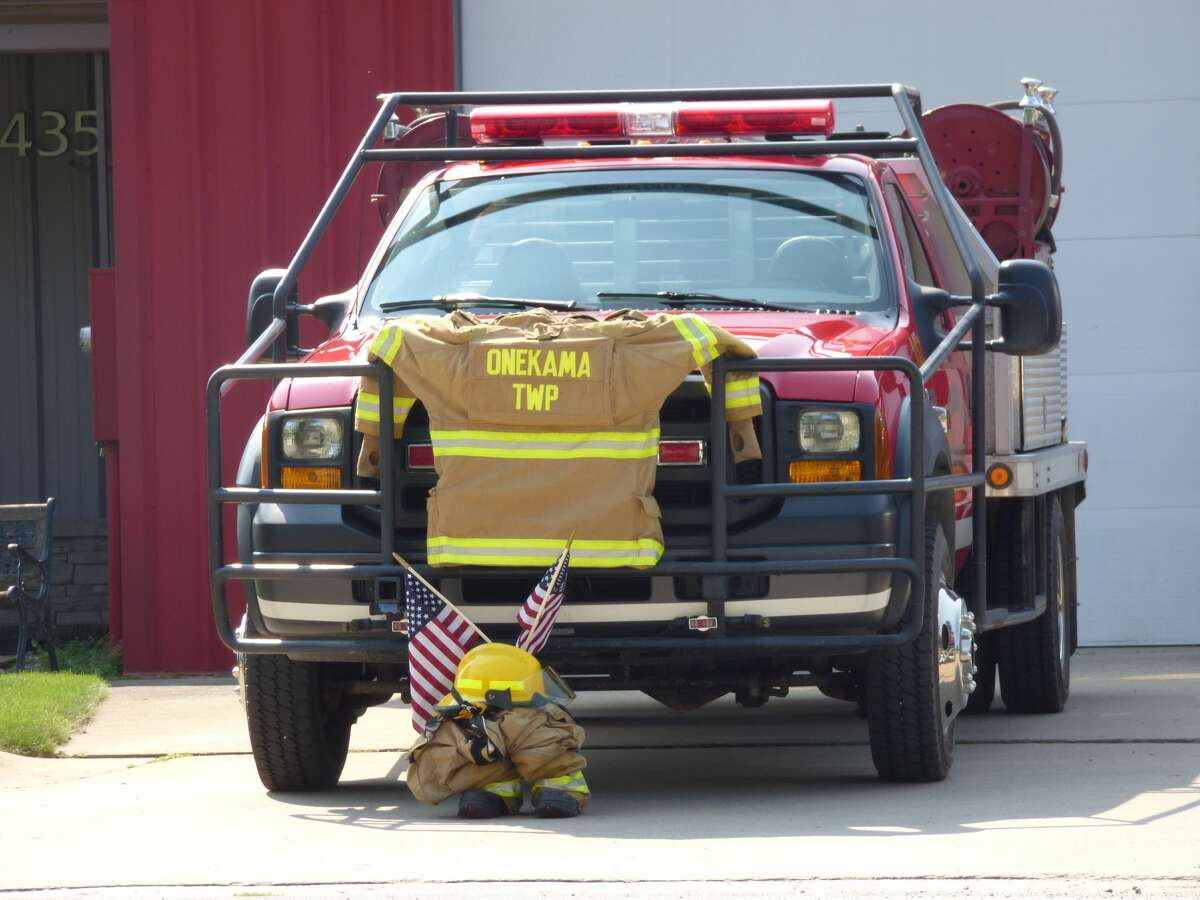 A display at the Onekama Township Fire Department recognizes first responders who lost their lives on Sept. 11.
