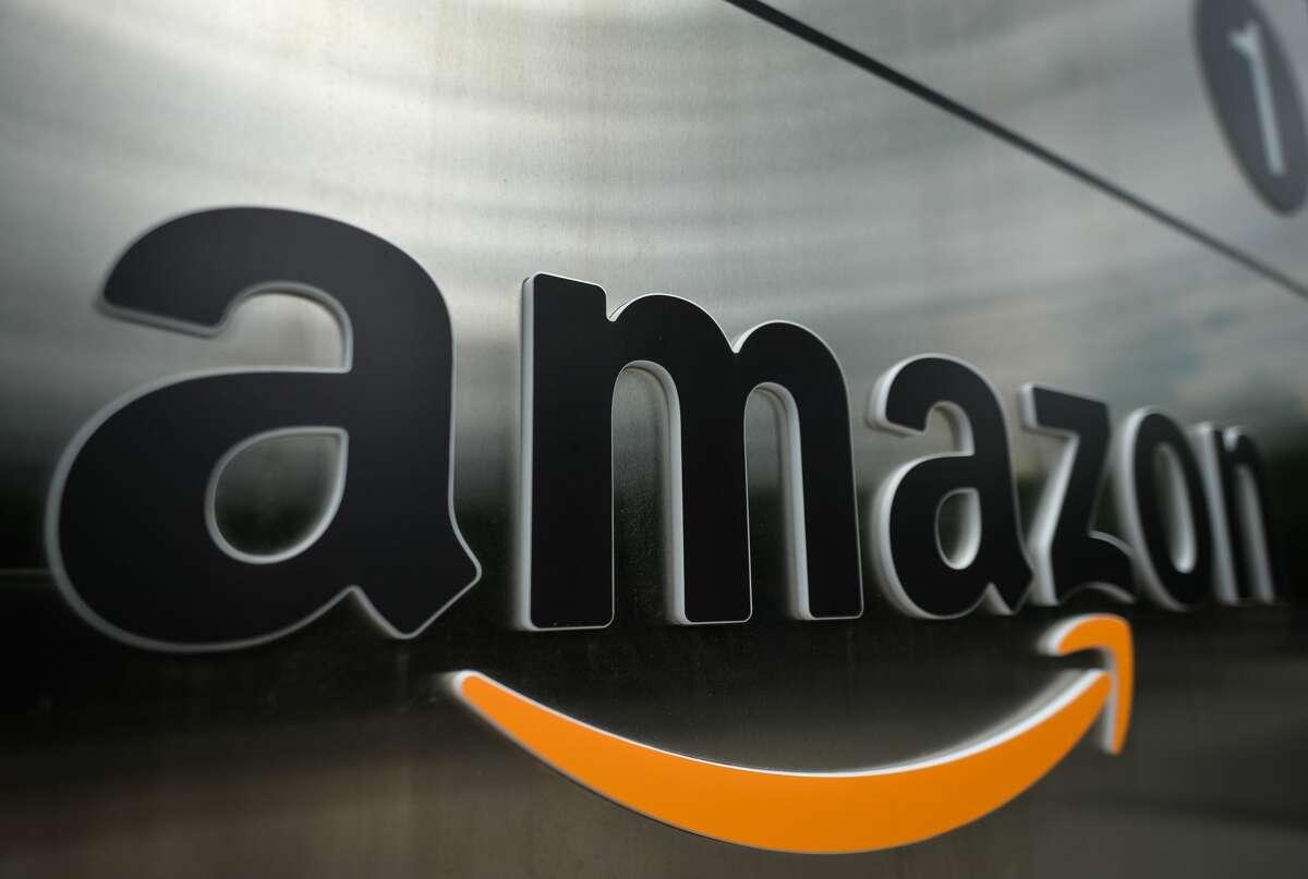 Amazon logo seen at the entrance to Amazon Ireland - Shackleton Office in Dublin. (Photo by Artur Widak/NurPhoto via Getty Images)