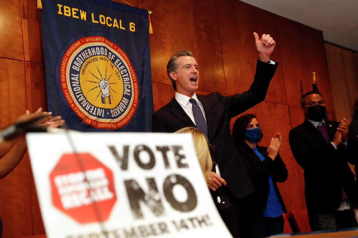 California Governor Gavin Newsom urges the crowd to vote during an event at IBEW Local 6 on gubernatorial recall Election Day in San Francisco, Calif., on Tuesday, September 14, 2021.