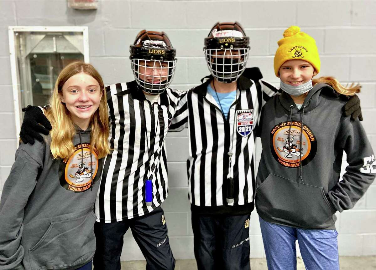 Ridgefielders Lexi Morse, left, Harper Evans, Alex Evans and Lulu Presbrey have played hockey together for years. The Ridgefield Amateur Hockey Association has merged with the Danbury Hat Tricks to offer a veritable hockey home for children to grow up in.
