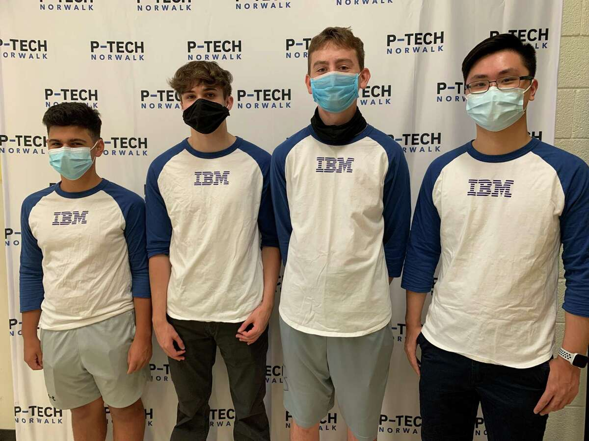 Current and former P-TECH students Vincent Coppola, a senior, Colton Lovell, a graduate, Seamus Herlihy, a senior, Raymond Lin, a senior, and Klaus Schroder, a senior (not pictured) participated in the six-week IBM summer internship and formed Team Nebula, earning first place at the IBM Internship Expo.