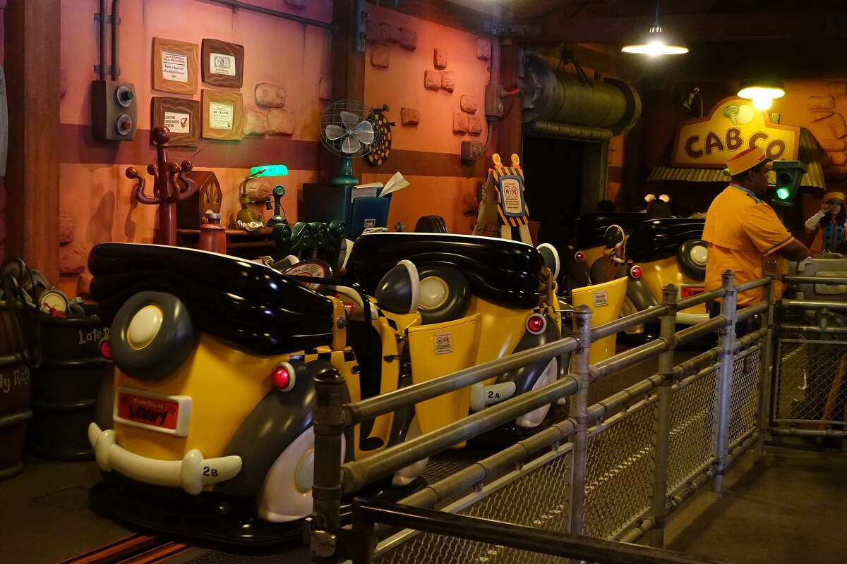 The ride vehicles for Roger Rabbit's Car Toon Spin in Disneyland.