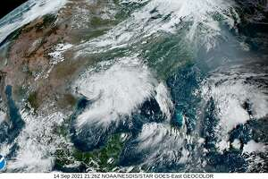 What was Hurricane Nicholas is seen from a weather satellite late Tuesday.
