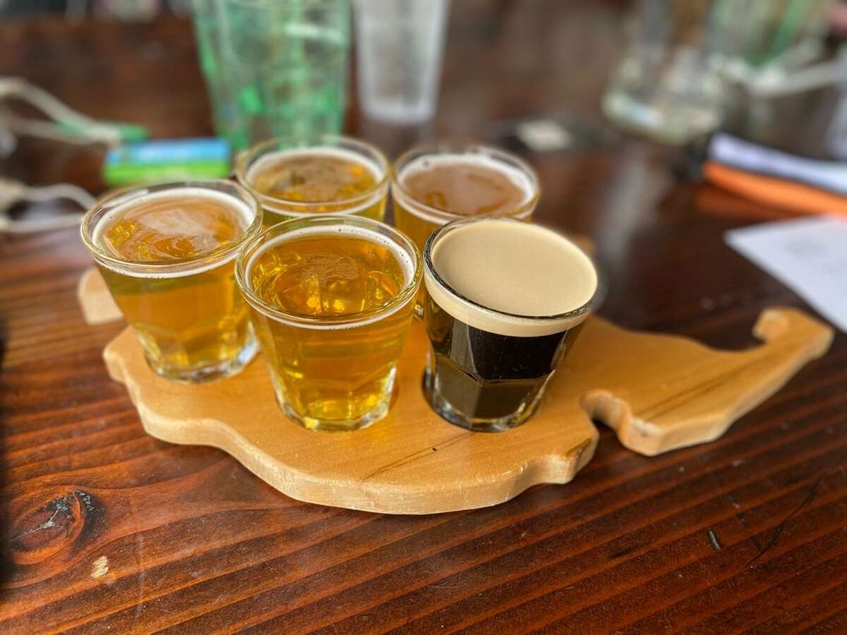 Beer flight from San Juan Island Brewing located in Friday Harbor.