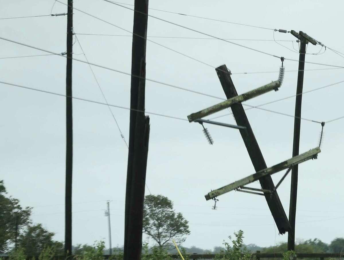 Broken powerlines in Matagorda County following Hurricane Nicholas on Tuesday, Sept. 14, 2021.