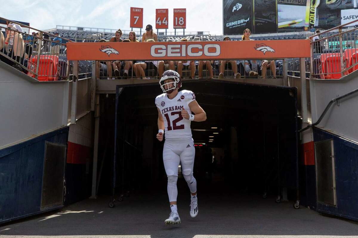 """Texas A&M """"12th Man"""" Connor Choate prepares to take the field at Denver's Empower Field at Mile High last Saturday, where the Aggies defeated Colorado, 10-7."""