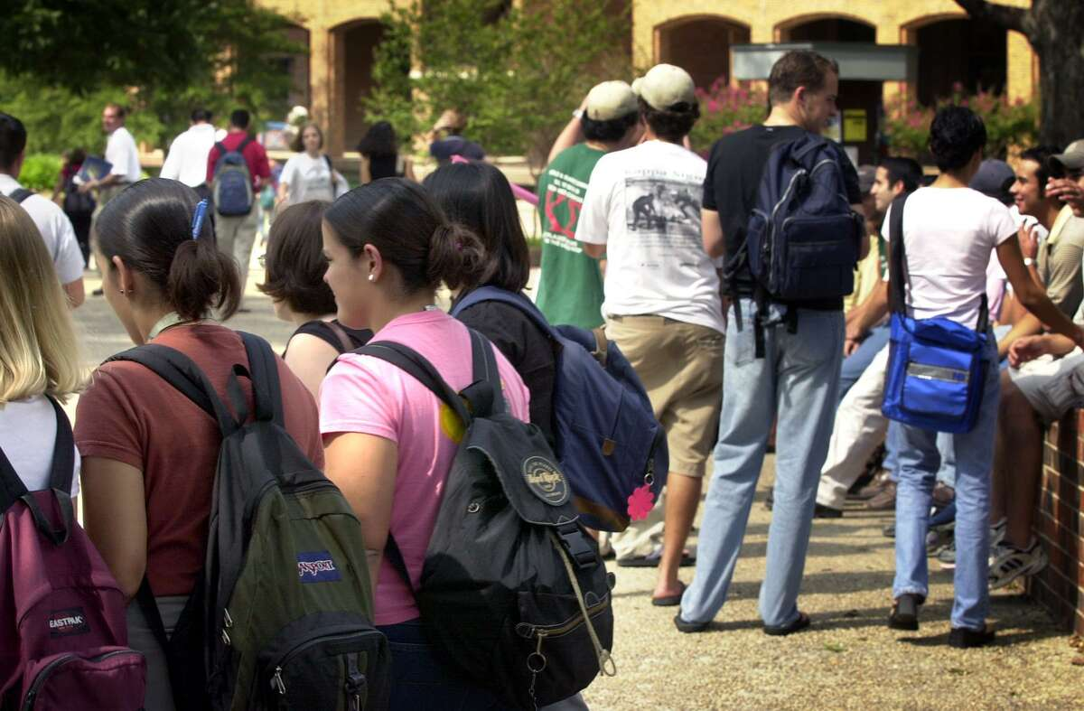 Students at St. Mary's University pack the campus quadrangle between classes in this file photo.