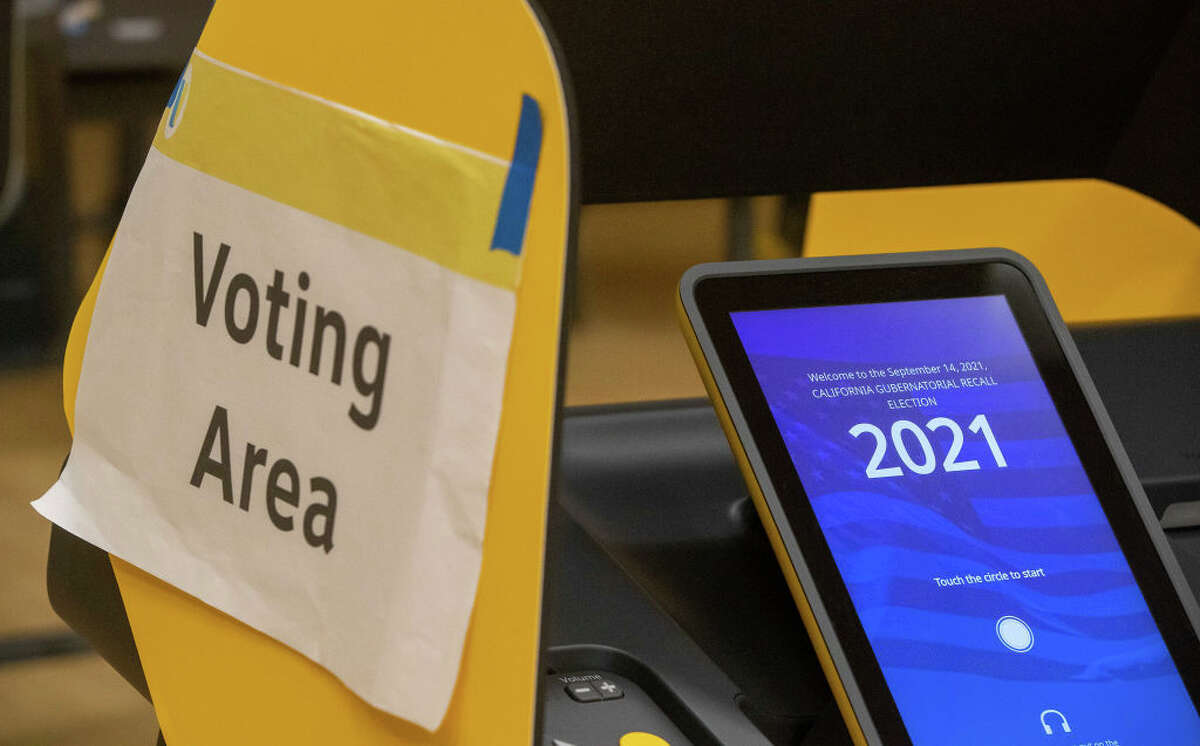 Electronic voting booth for the gubernatorial recall election at the Boyle Heights Senior Center on Tuesday, Sept. 14, 2021, in Boyle Heights, Calif.