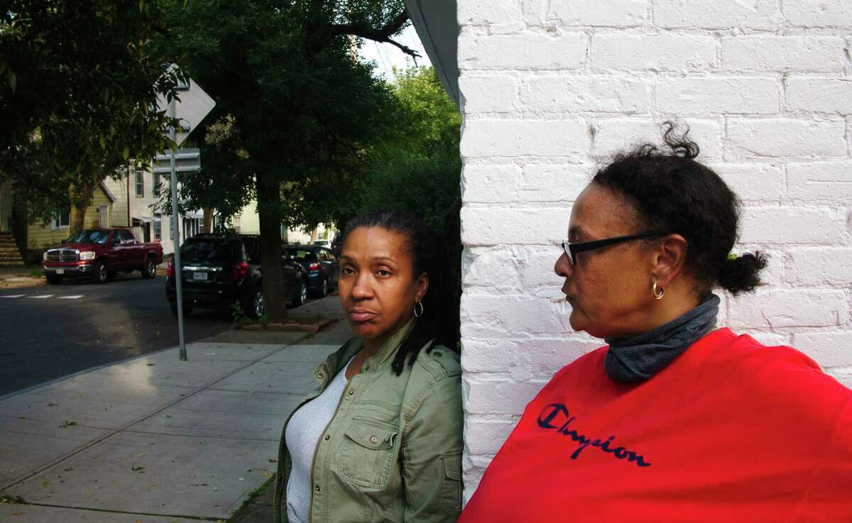 Allison Williams, left, and her in-law, Sheila Dawson, on Second St. on Tuesday, Sept. 14, 2021, in Albany, N.Y. Williams has lived in the neighborhood for almost a year. Dawson has lived in the neighborhood all her life and bought a home in the neighborhood in 1999.